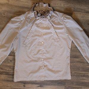 Polka Dot White Blouse Ruffled Bow Tie High Collar